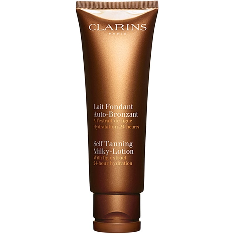 Mellanprodukten: Clarins Self Tanning Milky-Lotion With Fig Extract 24 Hour Hydration 125ml
