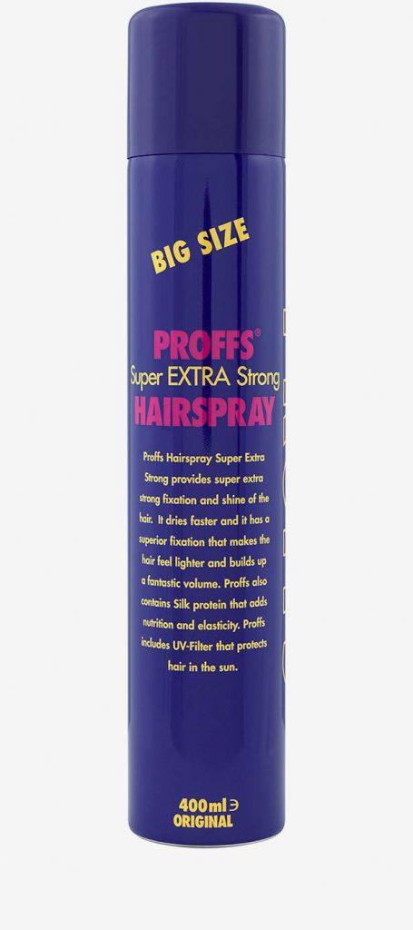 Budgetprodukten: Proffs Super Extra Strong Hair Spray